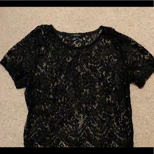 black laced see through crop top
